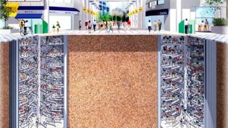 Parcare subterana pentru biciclete in Tokyo