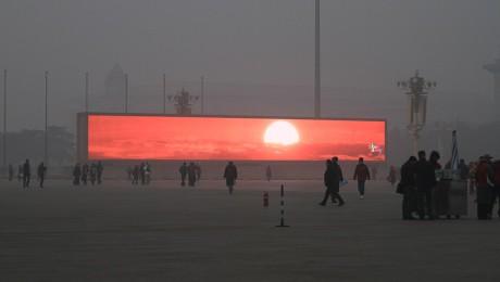 Chinezii nevoiti sa vada apusul soarelui pe ecrane gigant din cauza smogului
