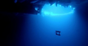 Handout photo of a free-swimming robot submarine manoeuvring beneath sea ice in Eastern Antarctica
