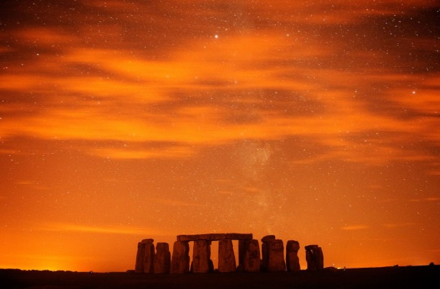 A general view of Stonehenge during the annual Perseid meteor shower in the night sky in Salisbury Plain