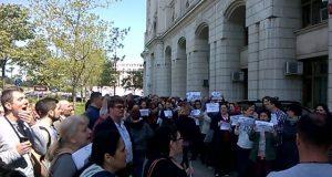 Protest spontan la Ministerul Mediului